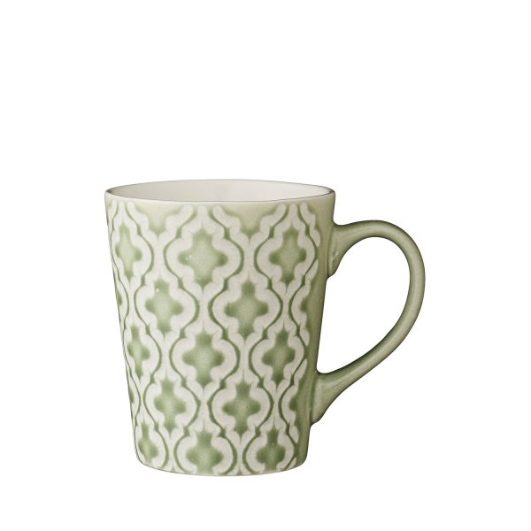 grüne Kaffetasse Teetasse Getränkebecher Keramik Steingut gemustert