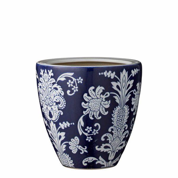 dunkelblauer Blumentopf Übertopf Blumenmuster