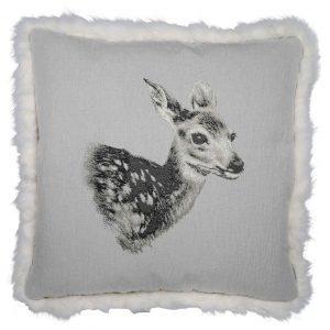 Wendekissenhülle Bambi mit Fellrand Heino 60×60