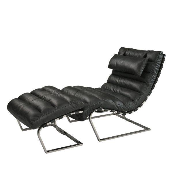 Chaiselongue Leder schwarz Vitra styl