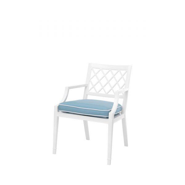 weißer Gartenstuhl mit Armlehnen, Outdoor-Stuhl, Gartenstuhl