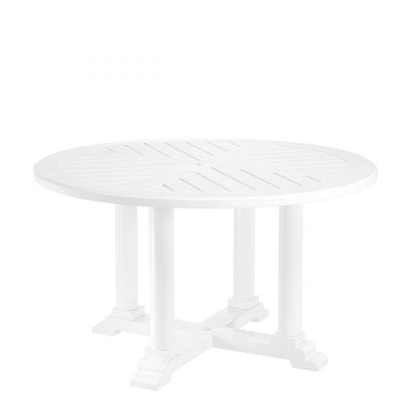 runder Gartenesstisch weiß