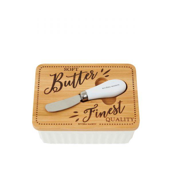 Butterdose Porzellan Riviera Maison Butterdose rivieramaison Butter Behälter Holzdeckel